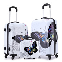 14'' +20'' /14'' +24'' Two pieaces Butterfly travel luggage set Pattern Spinner rolling travel bag suitcase luggage