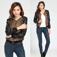 casaquinhos femininos 2014 outerwear jacket women tops/leopard jacket patchwork PU leather coat Lady tops/roupas femininas/WOW