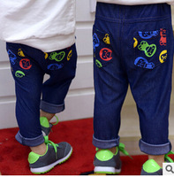 hot sale spring autumn manufacturers selling b**e pattern Cotton knitted denim children boys jeans