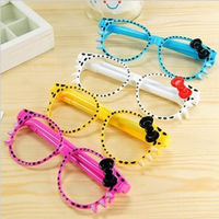 20Pcs/Lot Stationery Fantastic Cute Novel Creative Bowknot Glasses Pens For KT Cat BallPoint Pen Christmas Gift For Kids