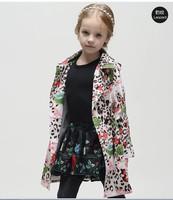 Top Quality 2014 new brand girls coat trench,designer children leopar print coat,baby&kids outerwear&coat,girls' jackets coat