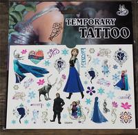 Wholesal 20sheet 400 stickers FROZEN Princess dolls Waterproof Body tattoo stickers kids Color tattoo paper elsa anna stickers