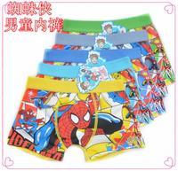 Free shipping 6 pcs/lot Children's cotton underwear  Spiderman boys underwear cartoon   boy boxers