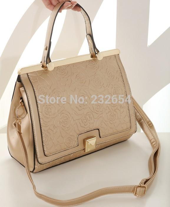 Fashion brand new flower printed lady satchel handbag tote bag purse 2 colors to buy(China (Mainland))