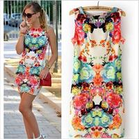 Hot Sexy Summer Dress O-Neck Sleeveless Vintage Mini Dress One Piece Women Flower Print Slim Tank Casual Dress Sundress LQ260 QY