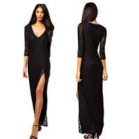 Top Quality Women Sexy Lace Dress Deep V-Neck Split Party Dresses Three Quarter Sleeve Cocktail Party Dress Black