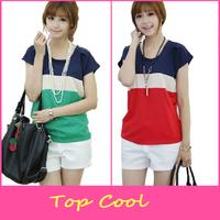 LA115 2014 2 color patchwork block chiffon t-shirt 3 sizes summer short-sleeve o-neck colorant match vest female t-shirt