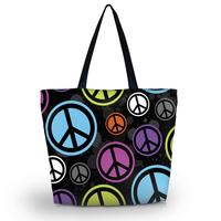 New Peace Sign Soft Foldable Tote Women's Shopping Bag Shoulder Bag Lady Handbag