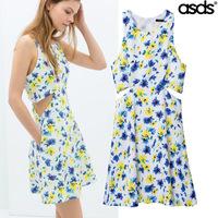 Women Summer Dress 2014 Supernova Sale Evening Vintage Party Novelty Casual Dress Sleeveless Crew Neck