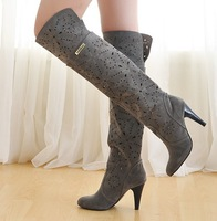 New 2014 spring and summer knee high boots for women cool shoes cutout over-the-knee high-heeled platform single boots 34-39  .