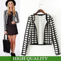 New Fashion 2015 Women Coat White And Black Plaid Patterns Print Jackets Women Short Jacket Autumn Coat Women Jacket Plus Size