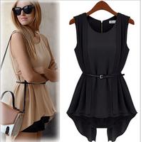 New Fashion 2014 European Style  All-match Chiffon Slim Dress Sleeveless Tops Fashion One Piece Dress Free Sashes  NL53