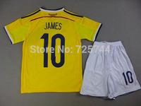 #10 JAMES Colombia Youth boys Kids soccer Kits,World Cup 2014 Colombia Home Youth Soccer uniforms,kids size 16-28.