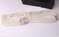 Hot sale imitation pearl crystal brand women wide chain belts fashion design rhinestone lady belts casual girl joker long straps