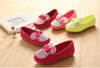 fashion round toe Children Shining Rhinestone with Bowknot sweet colors shoes,4 colors,size 21-36,inner length 13.3-21.7 cm