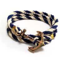 handmade vintage Navy wind hand-woven anchor Multicolor Cotton bracelets  for Lovers Kiel