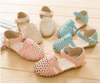 fashion Summer grid Hollow out girl princess sandals,Children pu shoes,beige,blue,pink, inner length15.6- 21.5 cm,size 26-35
