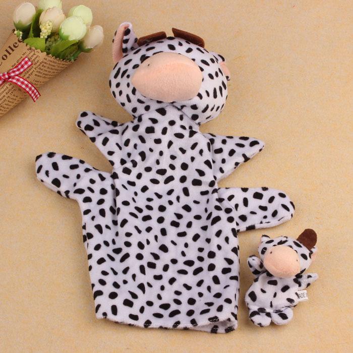Moodeosa 2Pcs Dairy Cow Soft Animal Finger Puppet Baby Kid Toy Plush Toys Free shipping &wholesale(China (Mainland))