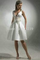 V Neck Satin Flower Trimed A Line Affordable Customized Wedding Dresses