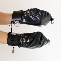 Wrist Restraint Soft Leather Gloves Harness Belt Adult Slave Hand Lock Sex Kit Top D-ring Telescopic Size Hand Cuff