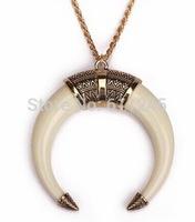 Min order is usd15.0(mix order) Fashion New Vintage Folk Style Elephant Tusks Pendant Women's Necklace