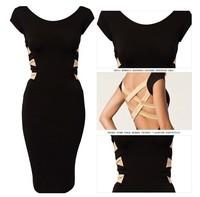 New fashion 2014  European Fashion Women Sexy Knee Length Black Bodycon Bandage Dress Celebrity Casual Dress  NL38