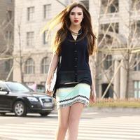New Fashion 2014 Ladies' elegant color striped V-neck Two-piece Dresses vintage casual slim quality Brand designer dress  NL52