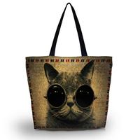 Cool Cat Soft Foldable Tote Women's Shopping Bag Shoulder Bag Lady Handbag Pouch