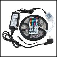 Free Shipping 3528 LED Strip RGB IP65 Waterproof 300 SMD LED Strip 5M + 44 Keys IR Remote + 12V 2A Adapter