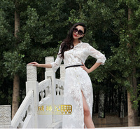 2014 Spring summer European embroidered chiffon shirt dress sunscreen beach Cardigan plus size Size