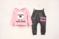 Retail Free shipping 2014 new arrival  Winter Girls Clothing Sets, Sport Suit, Girls Tracksuit set, Children Girl Winter Suit