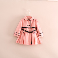2014 winter hot sale children girl double-breasted long trench coat wind jackets with belt 3 color