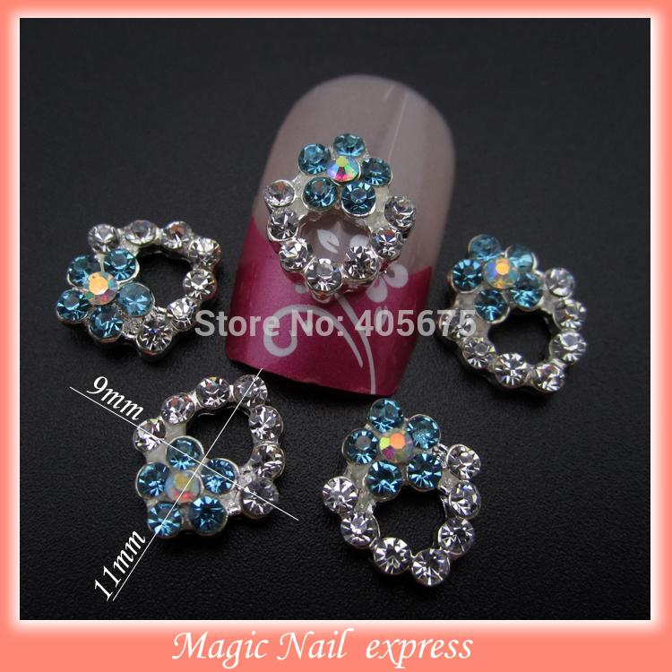 MNS515  glitter nail 3d flowers rhinestones for nails art decoration 2014 new 50pcs(China (Mainland))