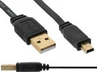 100pcs/Lot 1m mini usb gold plated mini usb b male to usb A male cable high quality