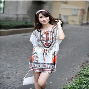 Hot Bohemia Ice Silk Women Beach Dress/Bat Sleeve Floral Print Mini Dress Women with Sashes/Ethnic Style Women Clothes One Size(China (Mainland))