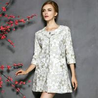 women  autumn OL fashion elegant long design plus size xl overcoat flower outerwear trench women coat free shipping