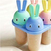 Lovely Rabbit 4 Cell DIY Frozen Ice Cream Pop Popsicle Lolly Mold Maker Mould#58201