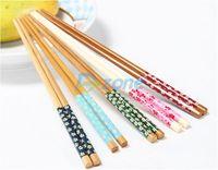 One Pairs Stylish Wooden Chopsticks Engraved Bamboo Chinese Retro Nation Style#58199