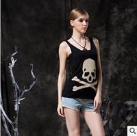 Free shipping the new women's skull vest harness condole belt unlined upper garment Small vest vest wholesale base joker