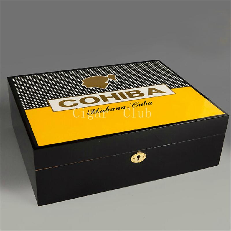 COHIBA Luxury Classical Black Glossy Piano Finish Cedar Wood Cigar Humidor Pretty Storage Box with Lock Humidifier Hygrometer(China (Mainland))