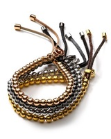 Wholesale Fashion beads metal with real leather stretch bracelet M lock for women mens 4 colors available