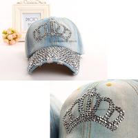 2014 New Arrival Diamond Cap Crown Rhinestone Baseball Caps Free Shipping Women Hip Hop Cotton Zircon Hats Snapback Gorras