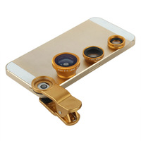 New Mobile Phone Lens 3 in 1 Fisheye Lens Clip-On +Wide Angle+Macro Lens Color Gold For Samsung iphone Smartphone Universal