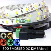 LED strip 5630 12V flexible light 60 leds/m,5m/lot Warm White Red Green Blue White color,brighter than 5050
