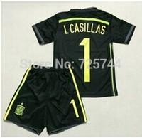 I.Casillas Spain 2014 World Cup Kids Football Uniforms Away Black , Youth Soccer Jersey Kit