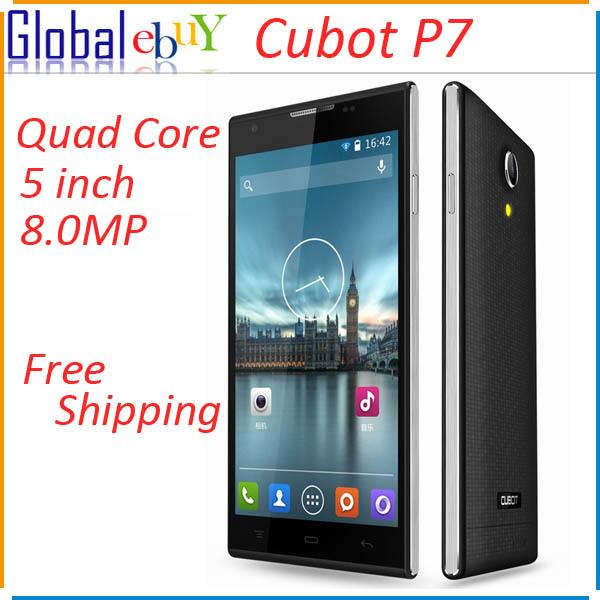 Original Cubot P7 MTK MT6582M Quad Core Smartphone Android 512MB RAM 4GB ROM 5.0 Inch IPS HD Screen 8MP Camera(China (Mainland))
