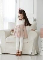 Wholesale children leggings,korean 100% cotton ninth pants girls clothings,candy color lace embroidery cute kids leggings