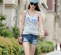 Wholesale 2014 New Summer Women Elastic Hole Shorts Jeans Ladies Clothing Blue Ripped Pants Wash Slim Denim Free Shipping