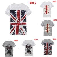 2014 Fashion Man Spring Brands T Shirt Flag Pattern O-neck Casual 10 Colors Cotton T-shirt Men Tshirt  Plus Size M L XL 8847