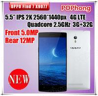 Original oppo find 7 3G RAM 32G rom 4g lte phone 13mp camera Qualcomm Quad Core 5 Inch IPS 2560*1440 GPS OTG NFC